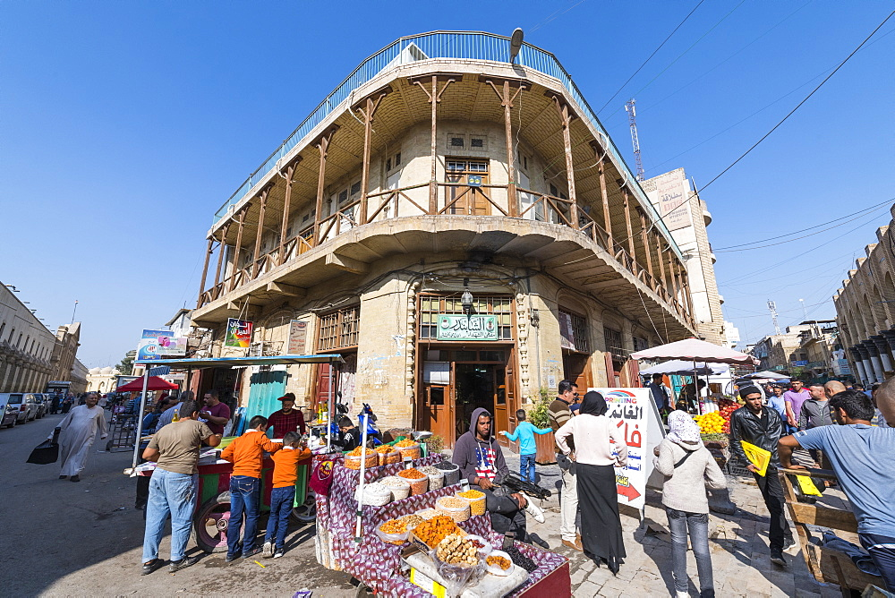 Historic Baghdad cafe, Shahbandar Cafe, Baghdad, Iraq, Middle East