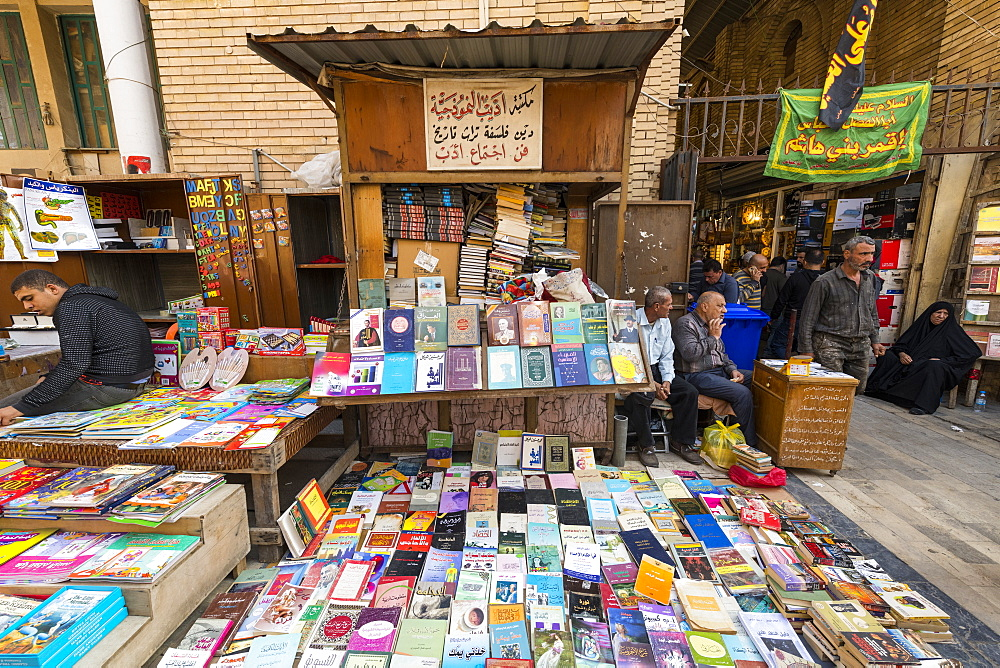 Bookshop in Mutanabbi Street a street filled with books stalls, Baghdad, Iraq, Middle East
