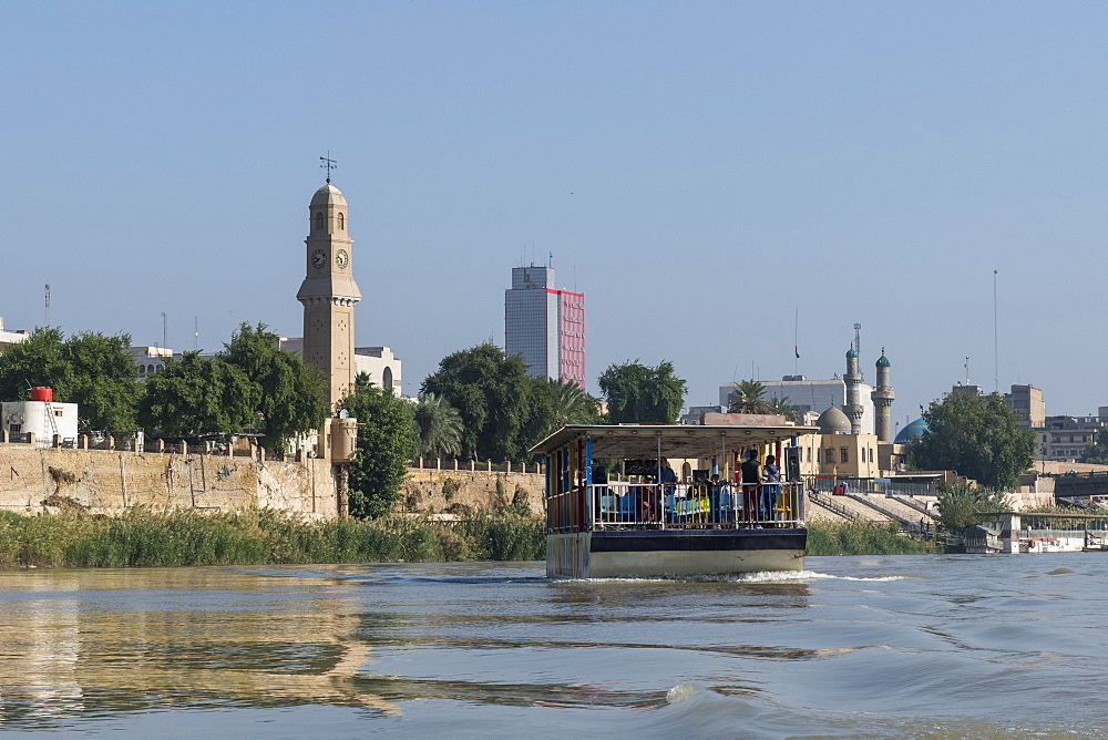 Qushla clock tower on the Tigris River, Baghdad, Iraq, Middle East