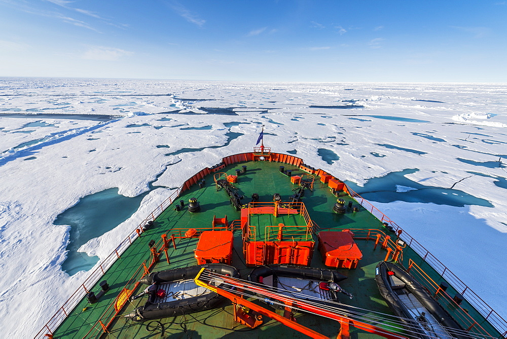 Bow of the Icebreaker '50 years of victory' on its way to the North Pole, Arctic