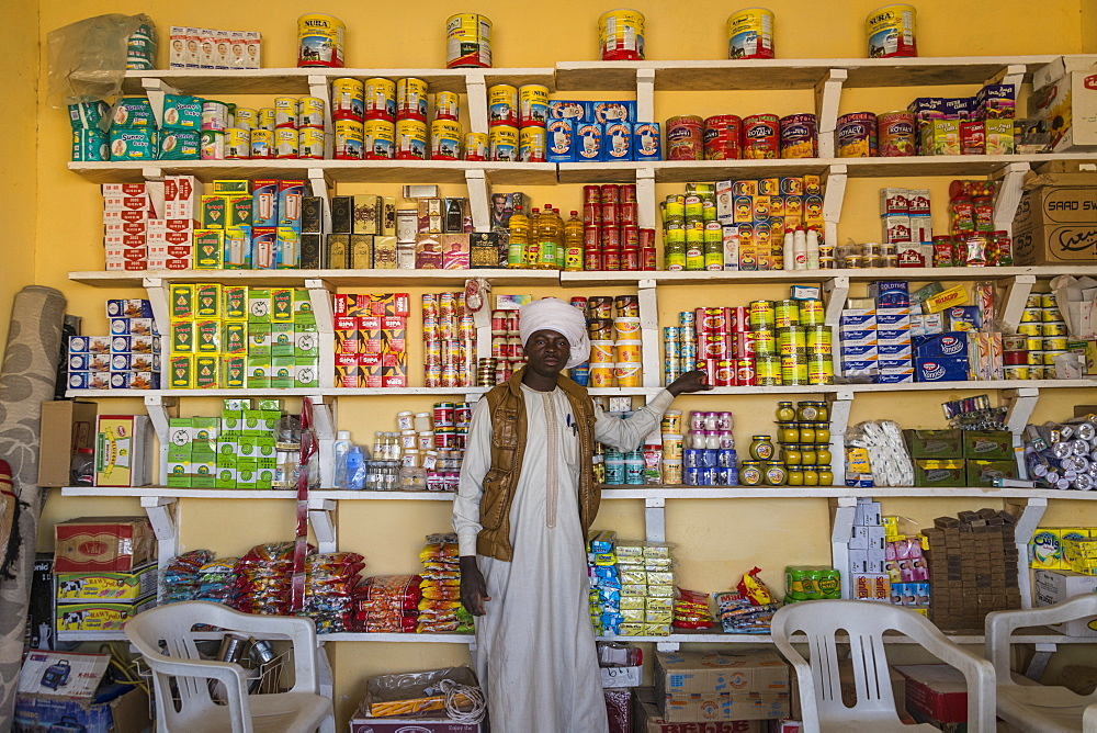Toubou man in a store, Sahel, Chad, Africa