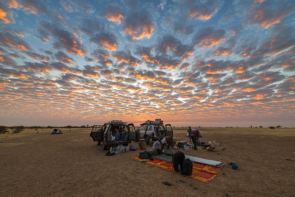 Camping under a dramatic morning sky in the Sahel, Chad, Africa - 1184-3069