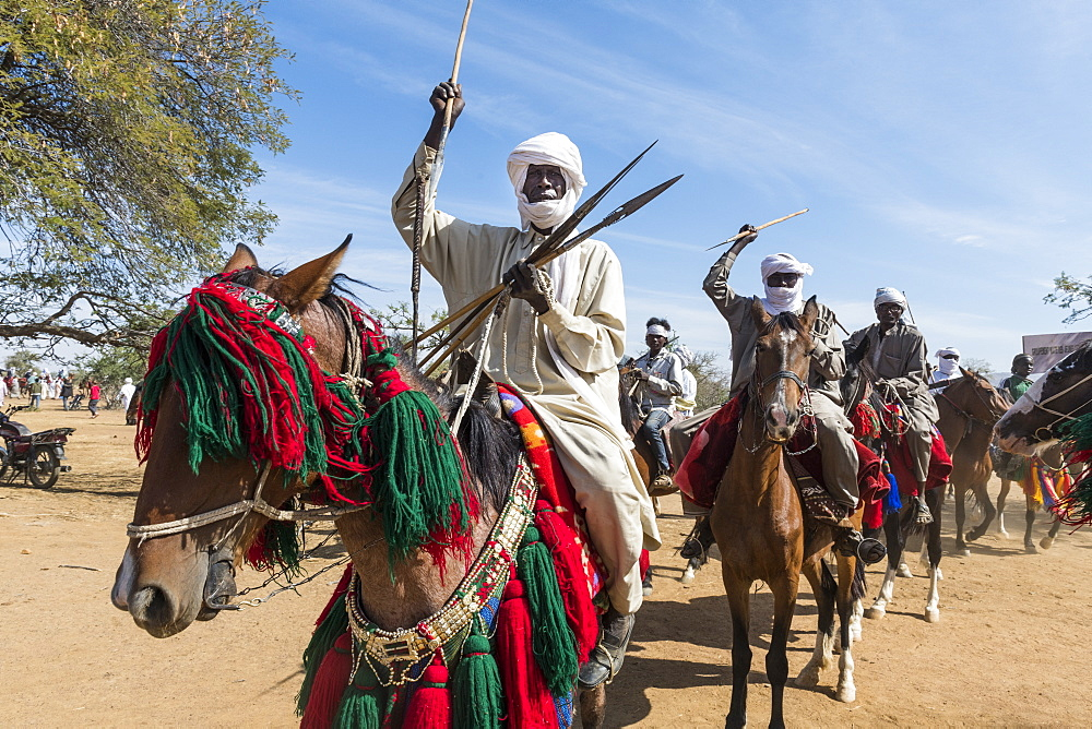 Colourful horse rider at a Trribal festival, Sahel, Chad, Africa