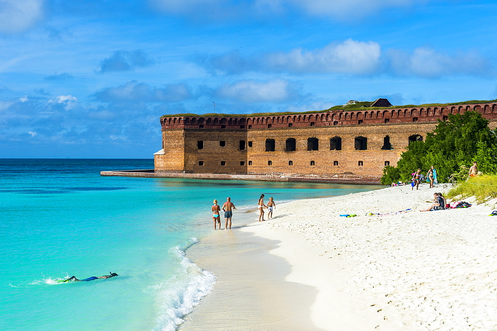 White sand beach and turquoise waters in front of Fort Jefferson, Dry Tortugas National Park, Florida Keys, Florida, United States of America, North America - 1184-309