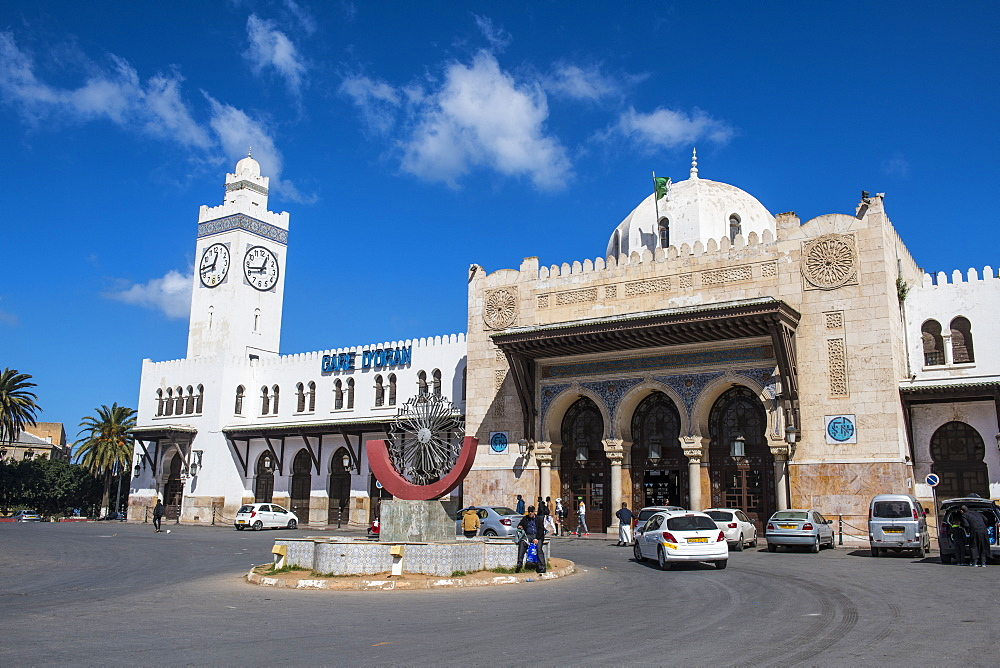 Beautiful colonial railway station of Oran, Algeria, North Africa, Africa