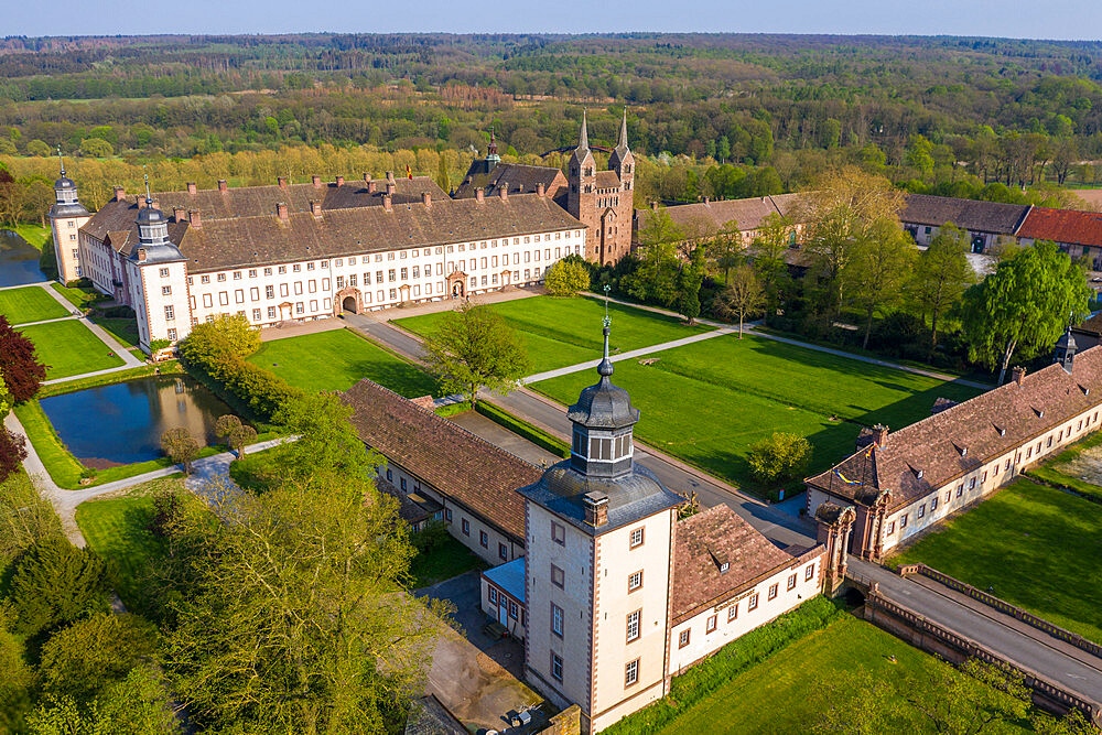 Aerial of the Unesco world heritage sight,Princely Abbey of Corvey, North Rhine-Westphalia, Germany
