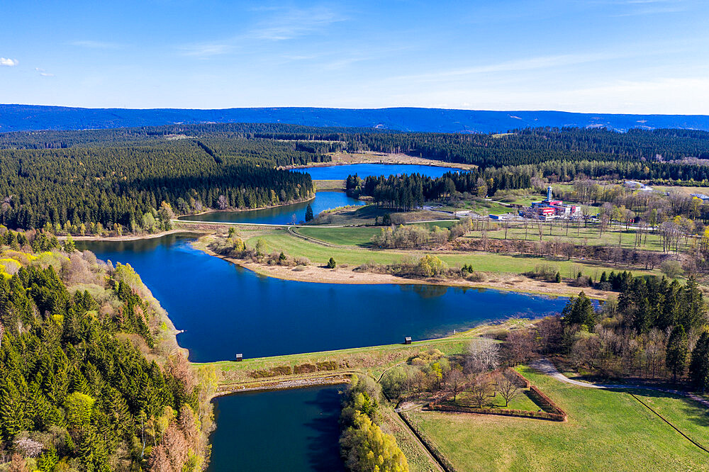 Unesco world heritage sight the Upper Harz Water Regale , Goslar, Lower Saxony, Germany (drone)