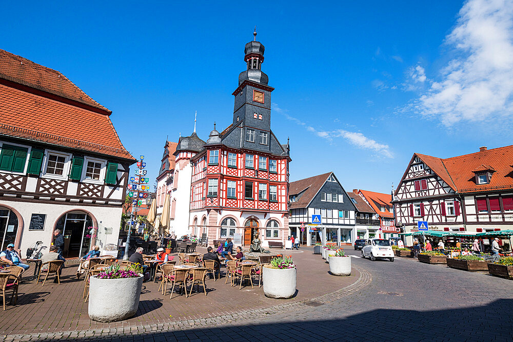Market square with the old town hall of Lorsch, Hesse, Germany - 1184-3269
