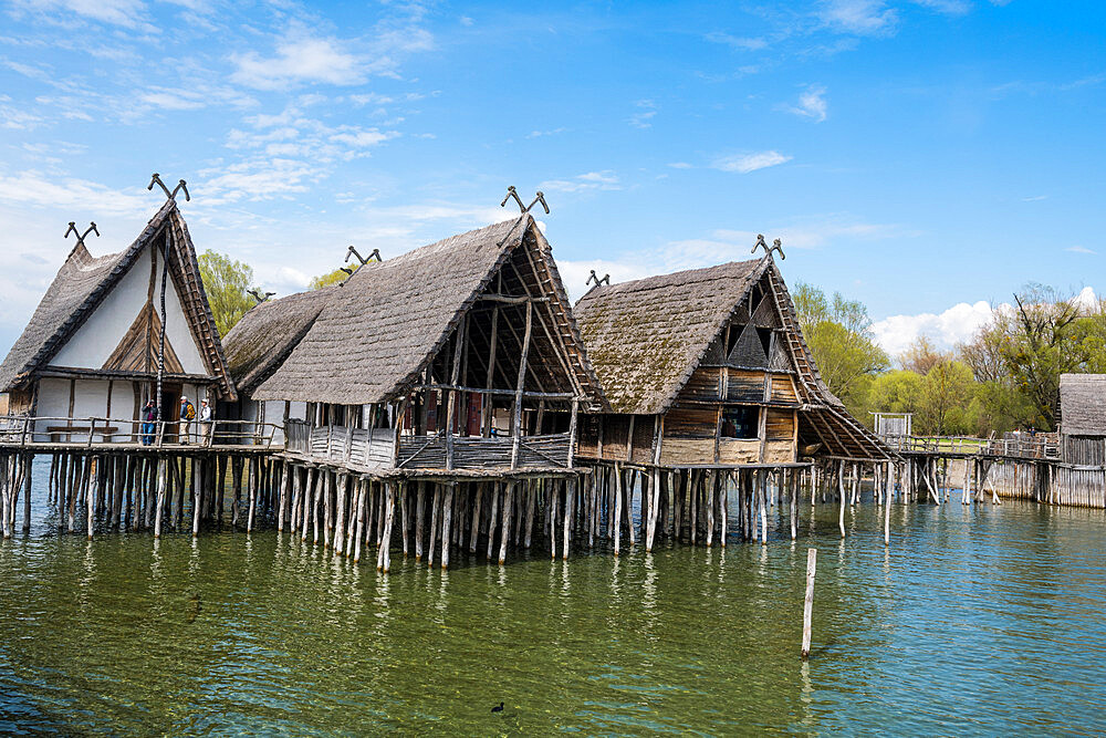 Unesco world heritage sight the archeological open-air museum Stilt houses, on Lake Constance, Unteruhldingen, Germany