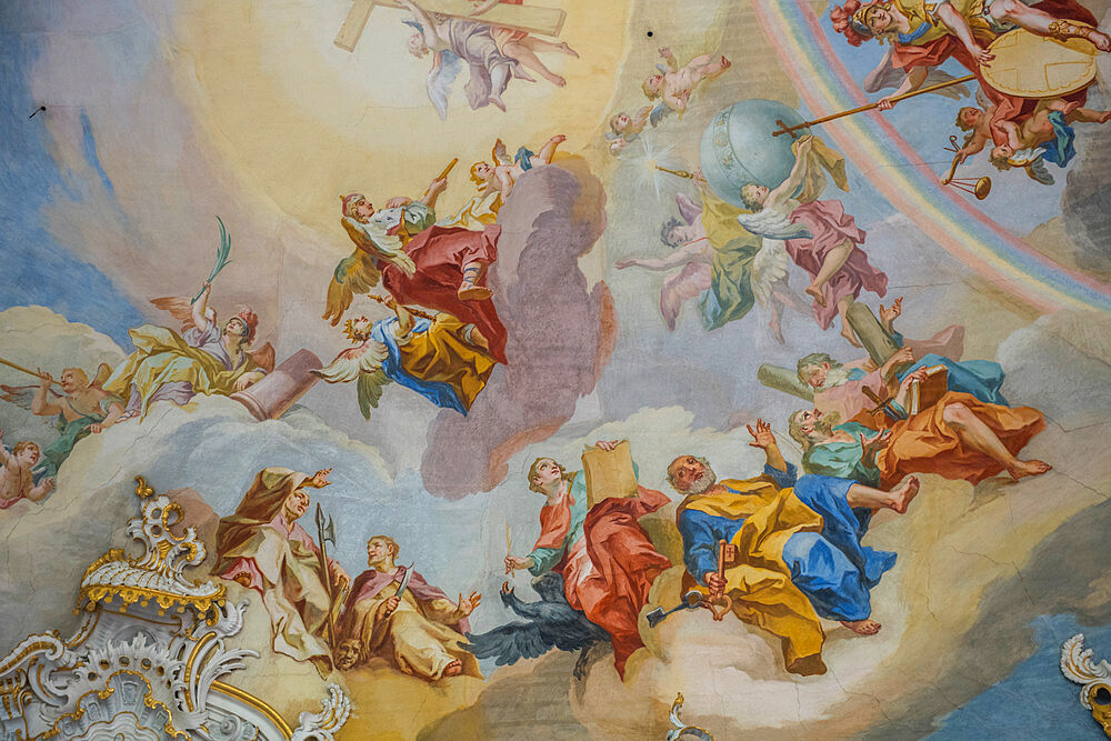 Rococo style paintings on the ceiling from the Unesco world heritage sight the Pilgrimage Church of Wies, Steingaden, Bavaria, Germany