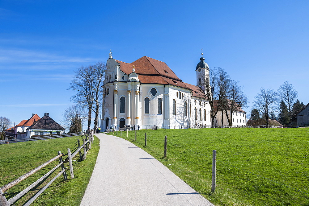 Unesco world heritage sight the Pilgrimage Church of Wies, Steingaden, Bavaria, Germany