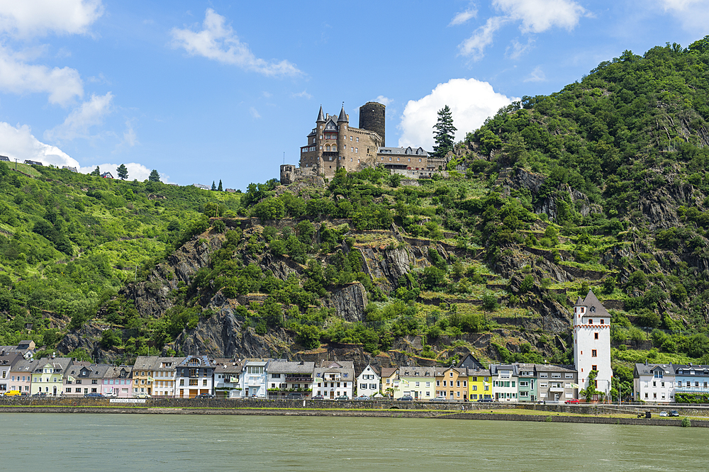 Castle Katz overlooking the Rhine and St. Goar, UNESCO World Heritage Site, Middle Rhine valley, Rhineland-Palatinate, Germany, Europe