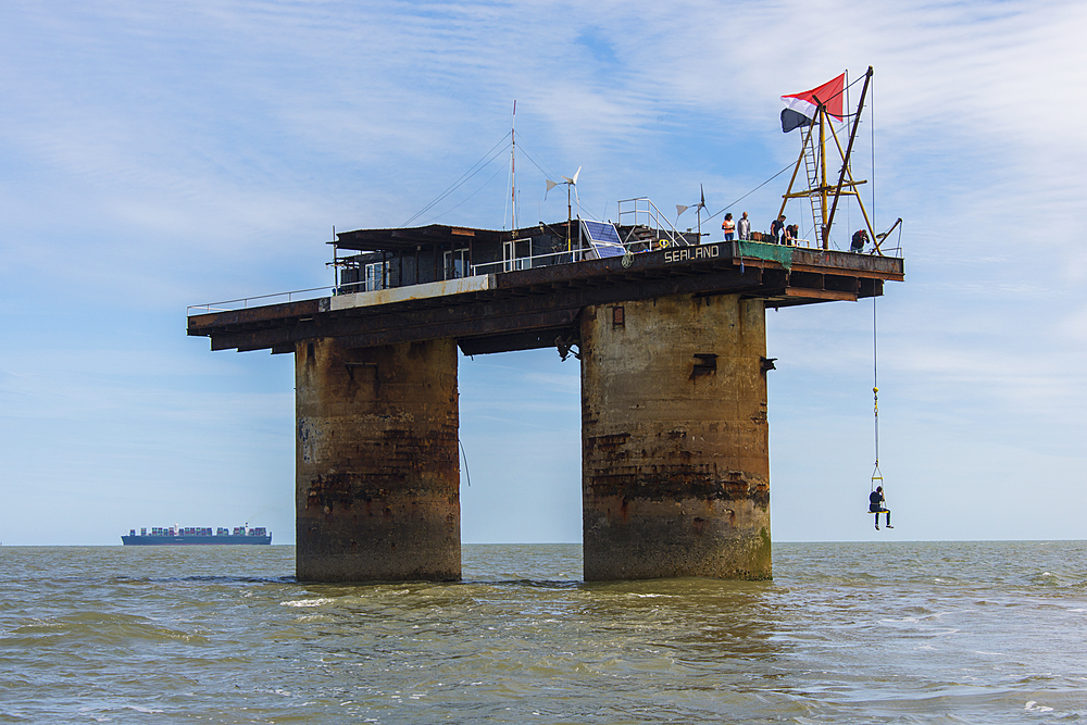 View of Roughs Tower, the former defense plattform, a Maunsell Sea Fort, now the Principality of Sealand, North Sea, Europe
