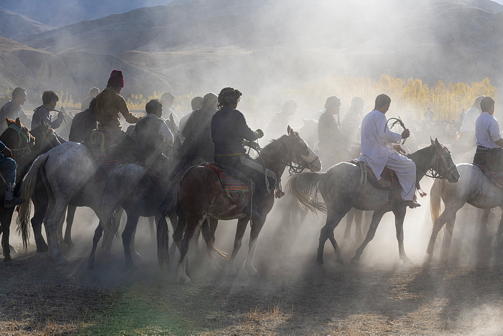 Men practising a traditional Buzkashi game, Yaklawang, Afghanistan
