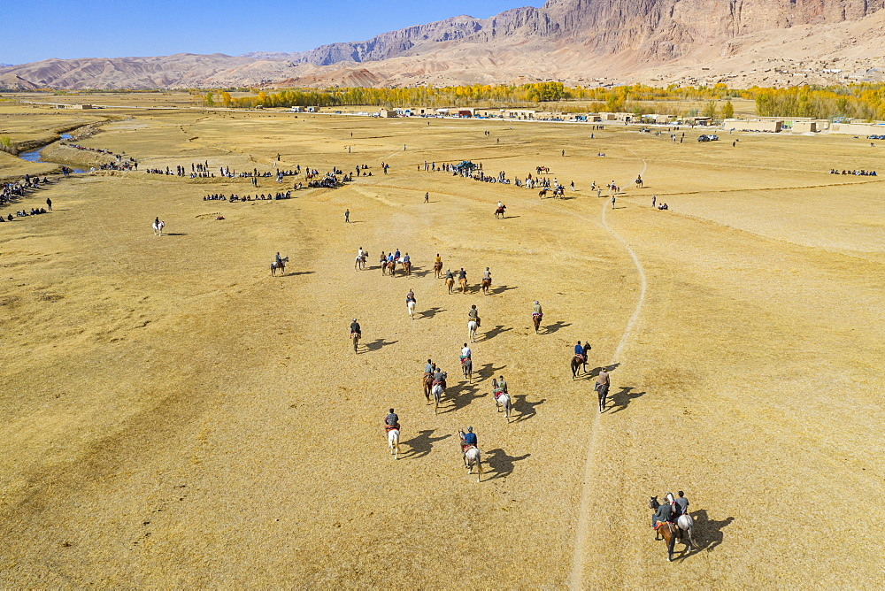 Aerial by drone of a Buzkashi game, Yaklawang, Afghanistan, Asia