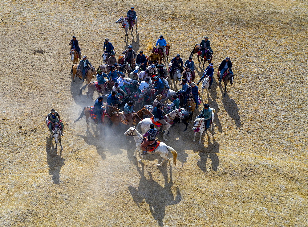 Aerial of a Buzkashi game, Yaklawang, Afghanistan, Asia