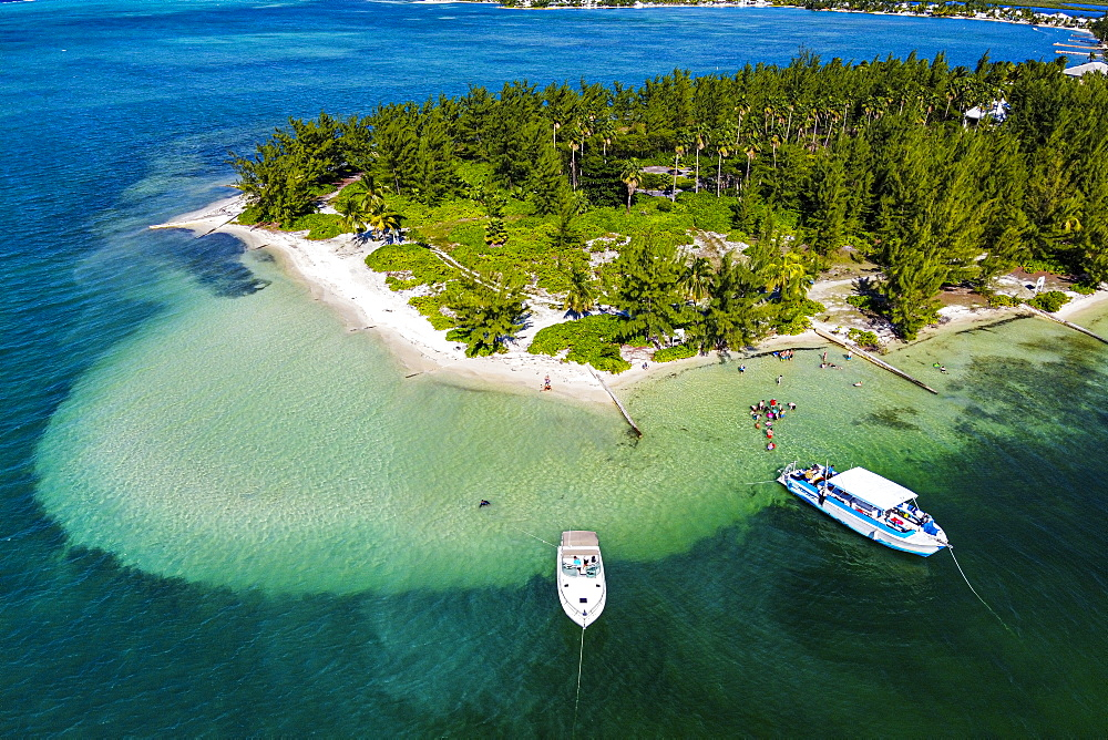 Aerial by drone of Starfish Point on Water Cay, Grand Cayman, Cayman Islands, Caribbean, Central America
