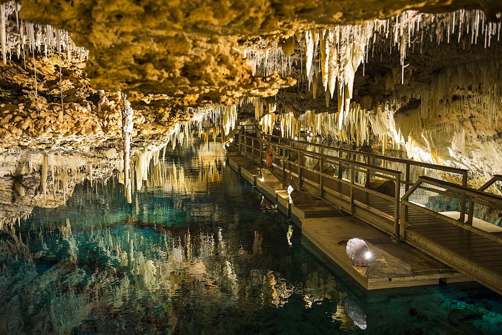 Stalagmites and stalactites in the beautiful Crystal subterranean cave, Bermuda, North America