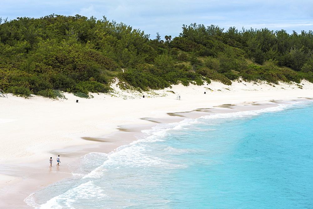 Famous white sand beach and turquoise waters, Horseshoe bay, Bermuda, North America