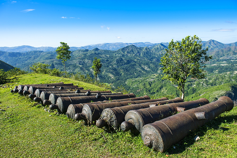Old cannons in front of the Citadelle Laferriere, UNESCO World Heritage Site, Cap Haitien, Haiti, Caribbean, Central America