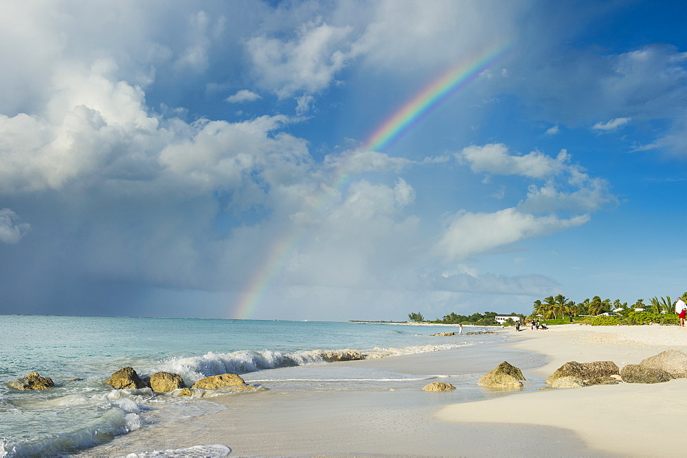 Rainbow over world famous Grace Bay beach, Providenciales, Turks and Caicos, Caribbean, Central America