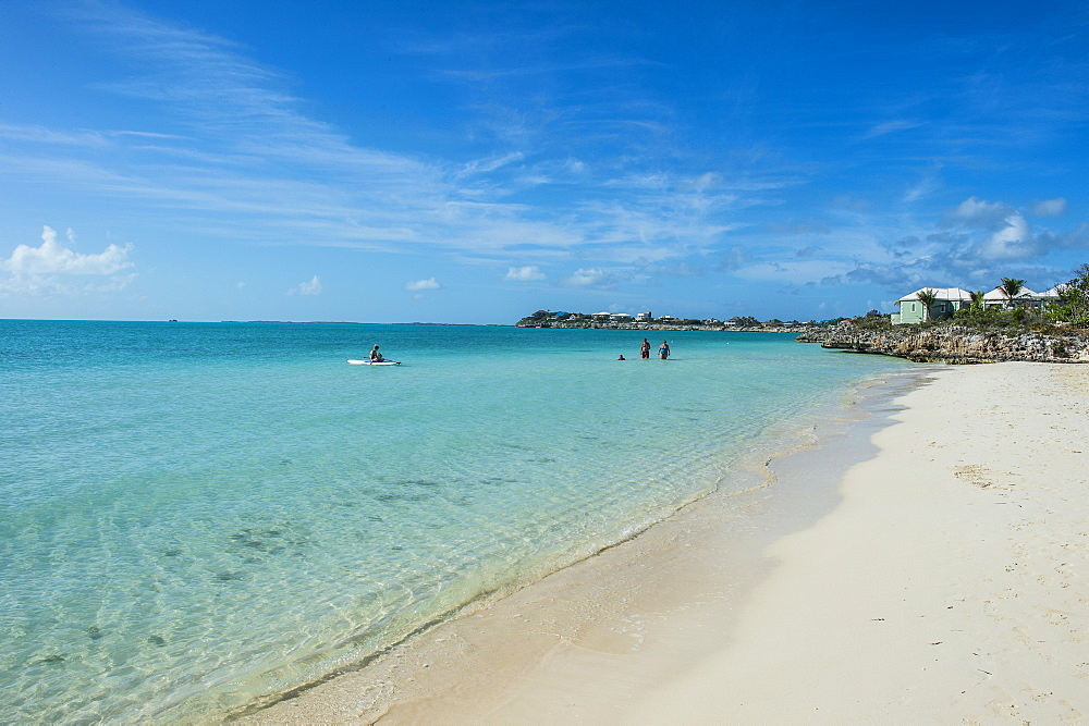 White sand and turquoise water at Sapodilla beach, Providenciales, Turks and Caicos, Caribbean, Central America