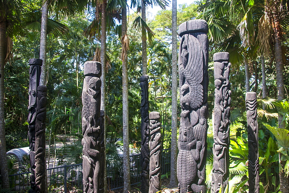 Totem poles from the Sepik River, Botanical Garden, Port Moresby, Papua New Guinea, Pacific