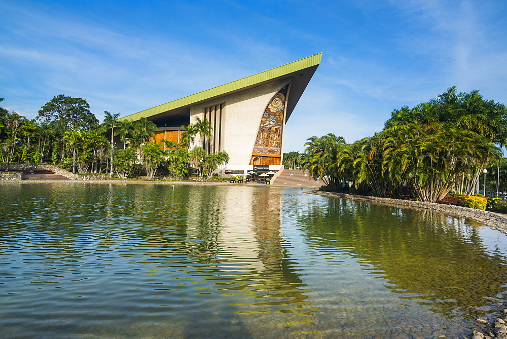 National Parliament reflecting in the water, Port Moresby, Papua New Guinea, Pacific