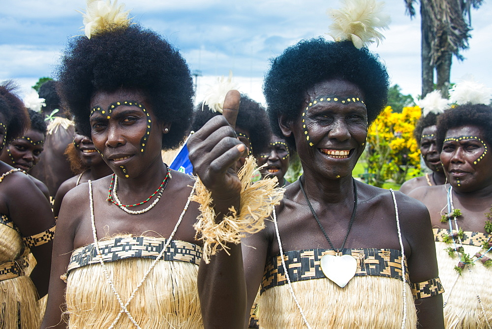 Traditionally dressed women from a Bamboo band in Buka, Bougainville, Papua New Guinea, Pacific