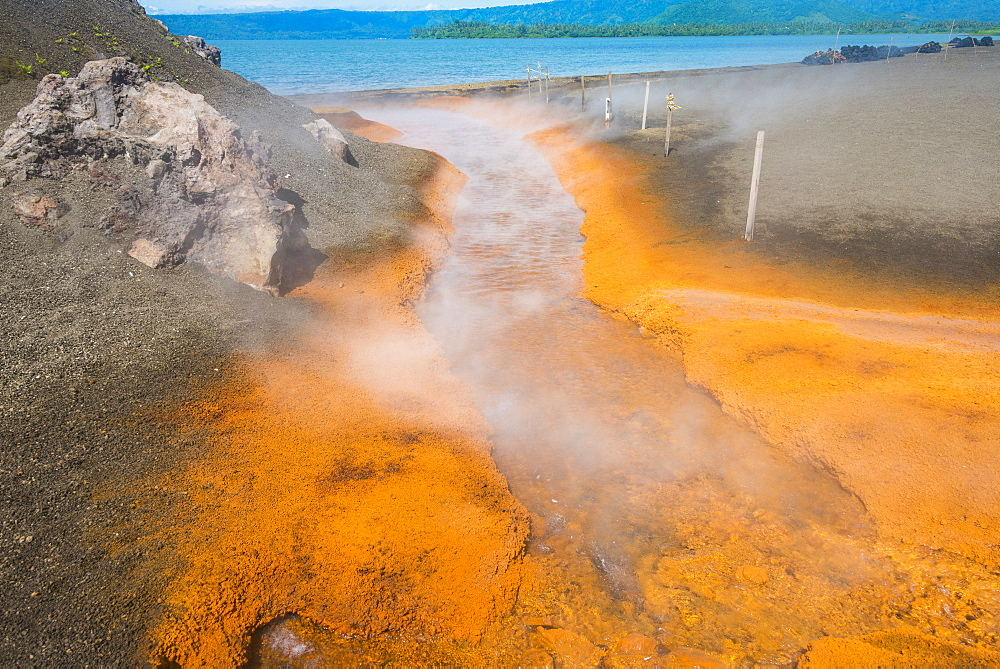 Sulphur river below Volcano Tavurvur, Rabaul, East New Britain, Papua New Guinea, Pacific
