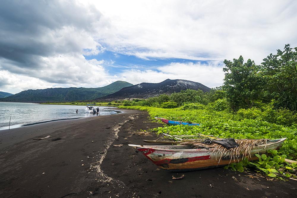 Volcanic beach below Volcano Tavurvur, Rabaul, East New Britain, Papua New Guinea, Pacific