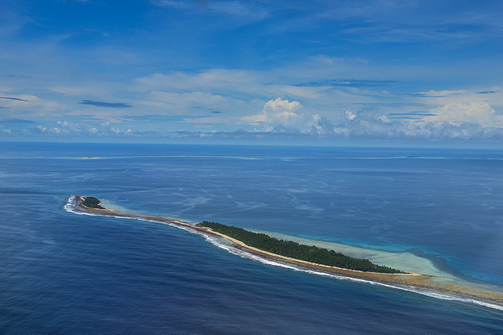 Aerial of the country of Tuvalu, South Pacific