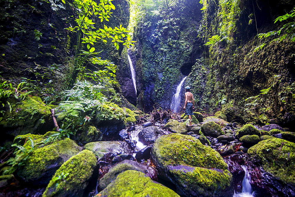 Man looking at the Tafunsak waterfall, Kosrae, Federated States of Micronesia, South Pacific