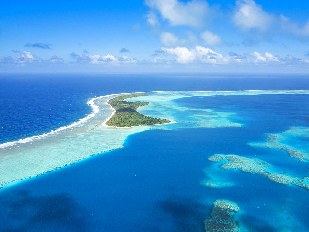 Aerial of the lagoon of Wallis, Wallis and Futuna, South Pacific, Pacific