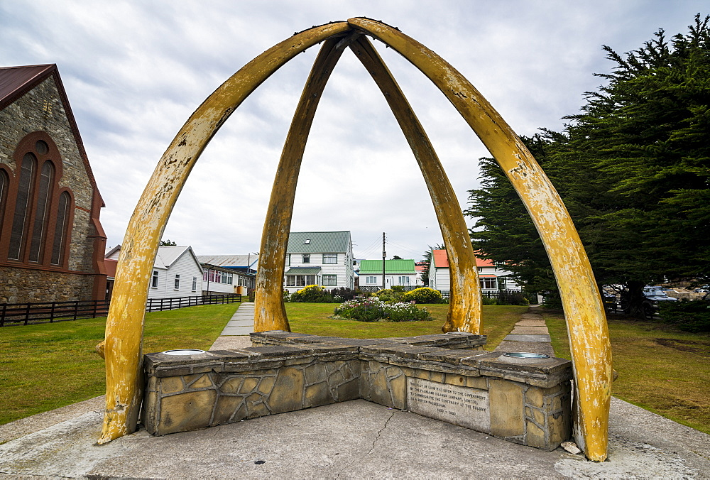 Cathedral and Whalebone Arch, Stanley, capital of the Falkland Islands, South America
