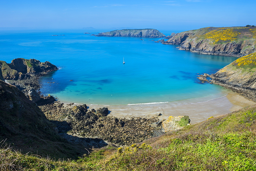 Overlook over the east coast from  the narrow isthmus of Greater and Little Sark, Channel Islands, United Kingdom, Europe