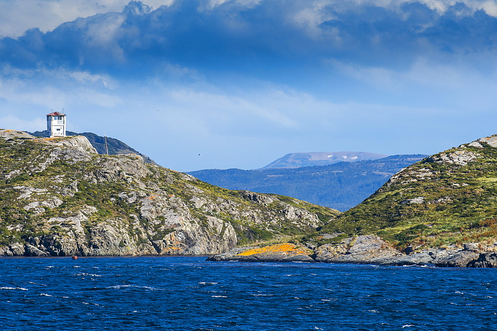 Lonely lighthouse in the Beagle Channel, Tierra del Fuego, Argentina, South America