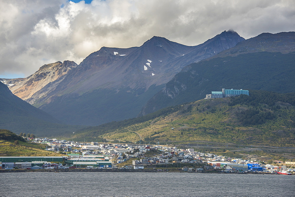 View of Ushuaia, Beagle Channel, Tierra del Fuego, Argentina, South America