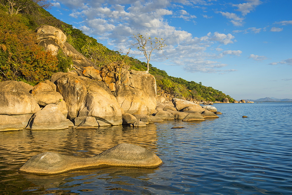 Otter Point at sunset, Cape Maclear, Lake Malawi National Park, UNESCO World Heritage Site, Malawi, Africa
