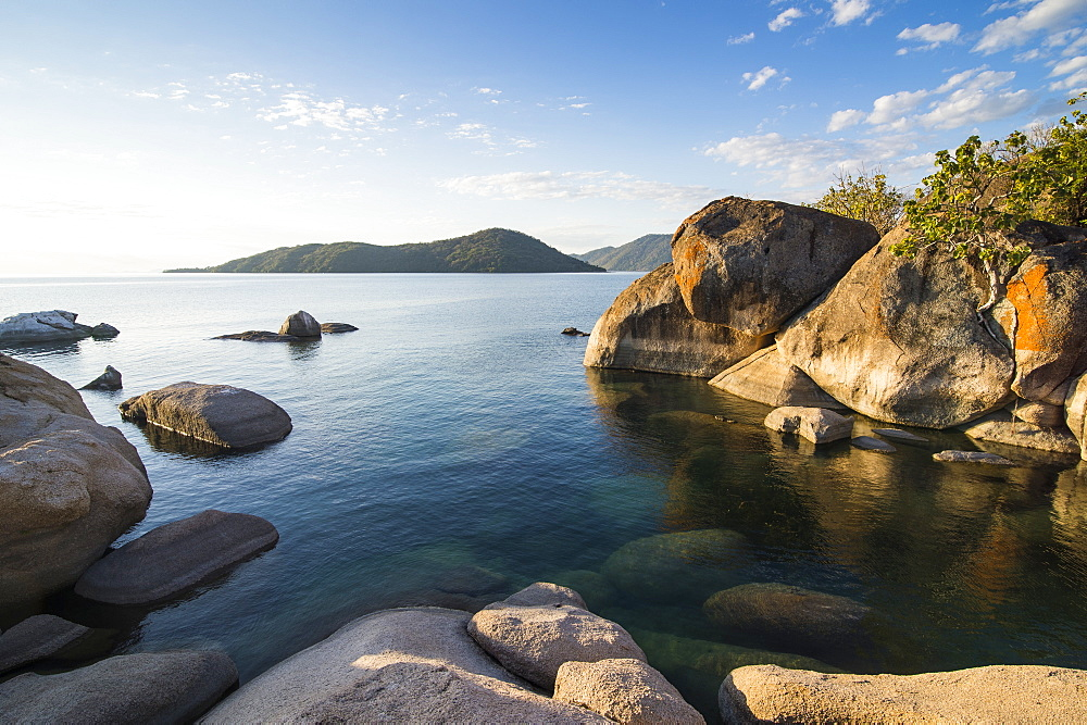 Otter Point at sunset, Lake Malawi National Park, UNESCO World Heritage Site, Cape Maclear, Malawi, Africa