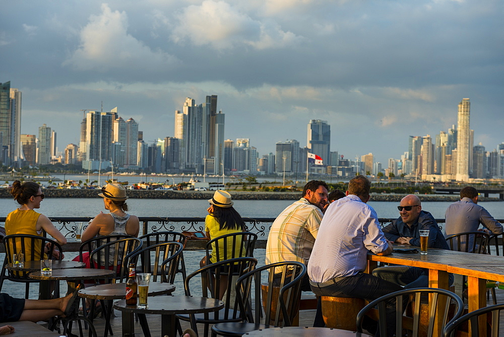 Bar in Casco Viejo overlooking the skyline of Panama City, Panama, Central America