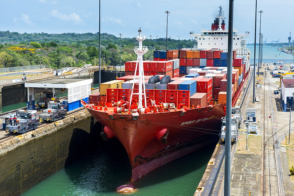Cargo boats passing the Gatun Locks, Panama Canal, Panama, Central America