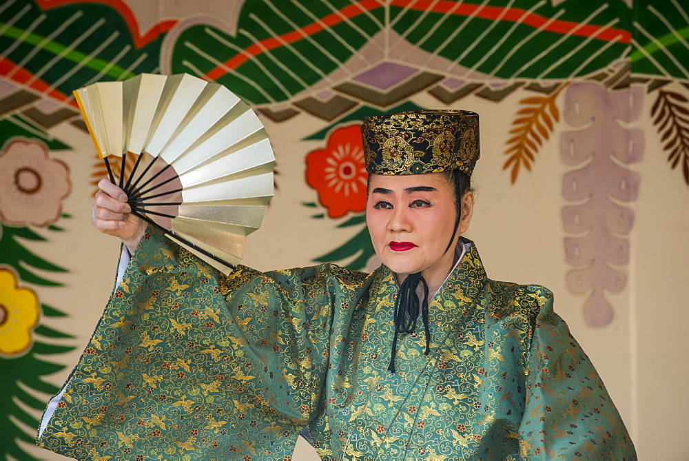 Traditional dressed dancer, Shuri Castle, UNESCO World Heritage Site, Naha, Okinawa, Japan, Asia