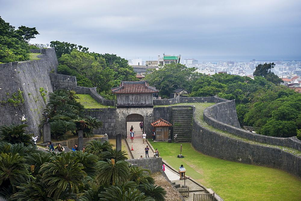 Walls of the Unesco world heritage sight Shuri castle, Naha, Okinawa, Japan