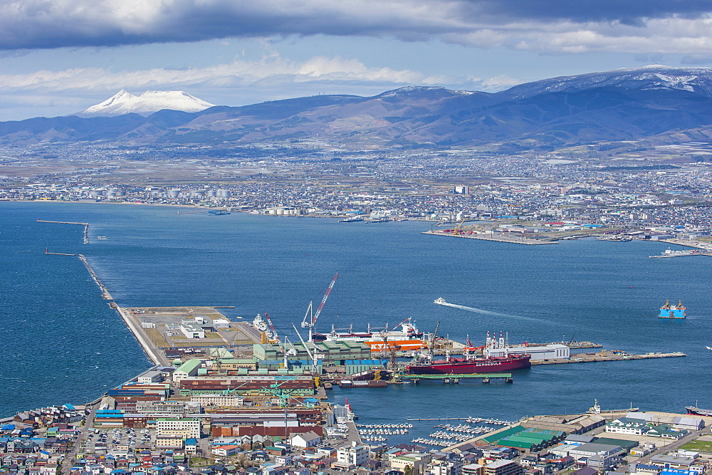 View over Hakodate from Mount Hakodate, Hokkaido, Japan, Asia