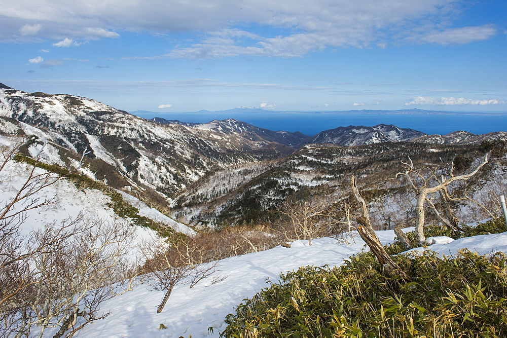 Snowcapped mountains in Shiretoko National Park, UNESCO World Heritage Site, Hokkaido, Japan, Asia