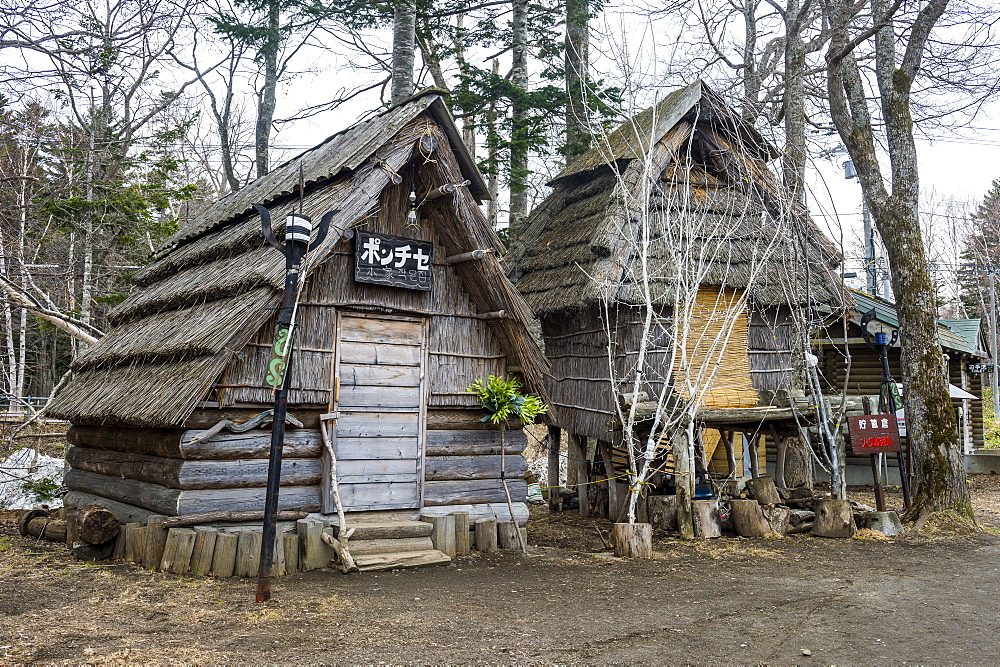 Ainu village in Akan Kohan Onsen, Akan National Park, Hokkaido, Japan, Asia