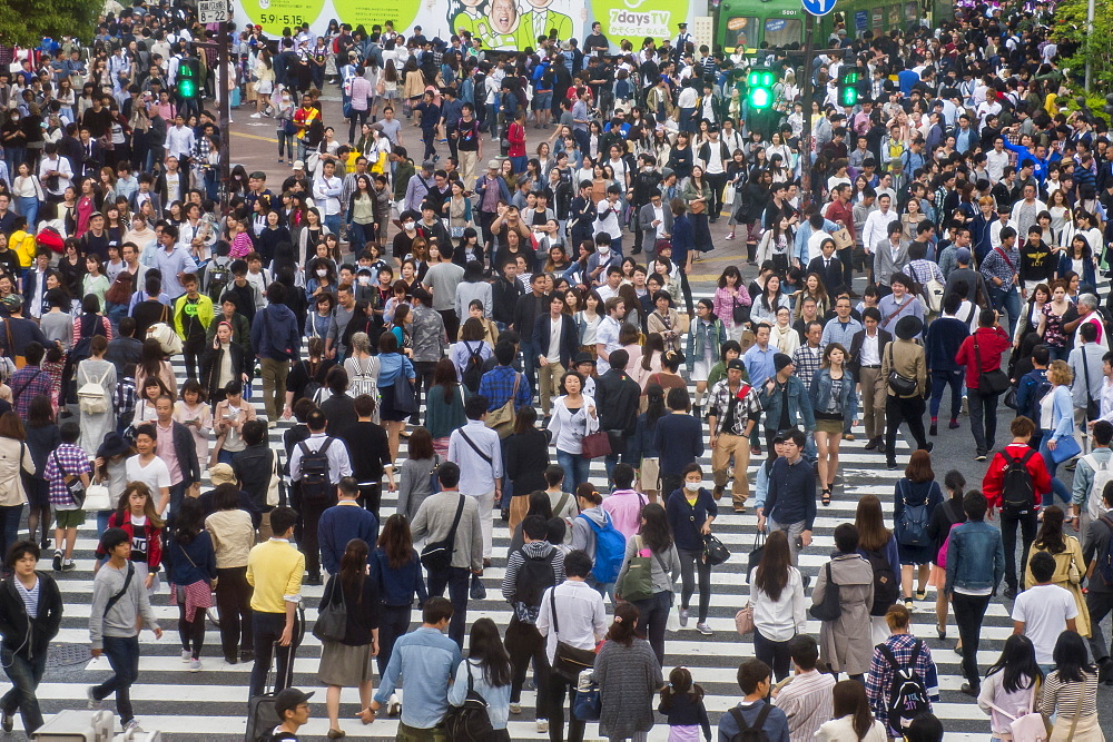 Shibuya crossing, the busiest road crossing in the world, Tokyo, Japan, Asia