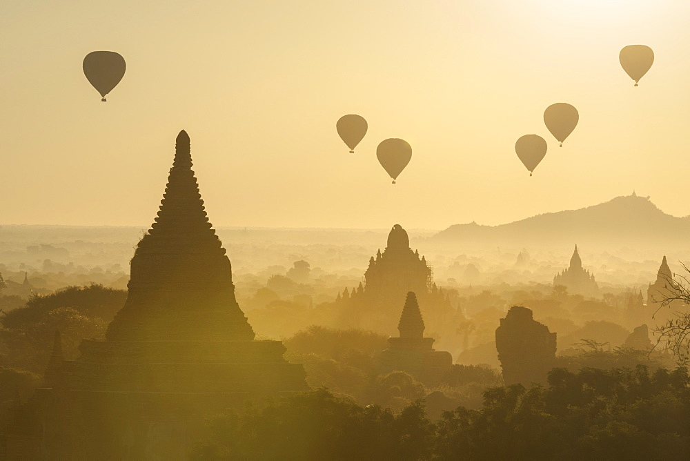 Hot air balloons above the temples of Bagan (Pagan), Myanmar (Burma), Asia