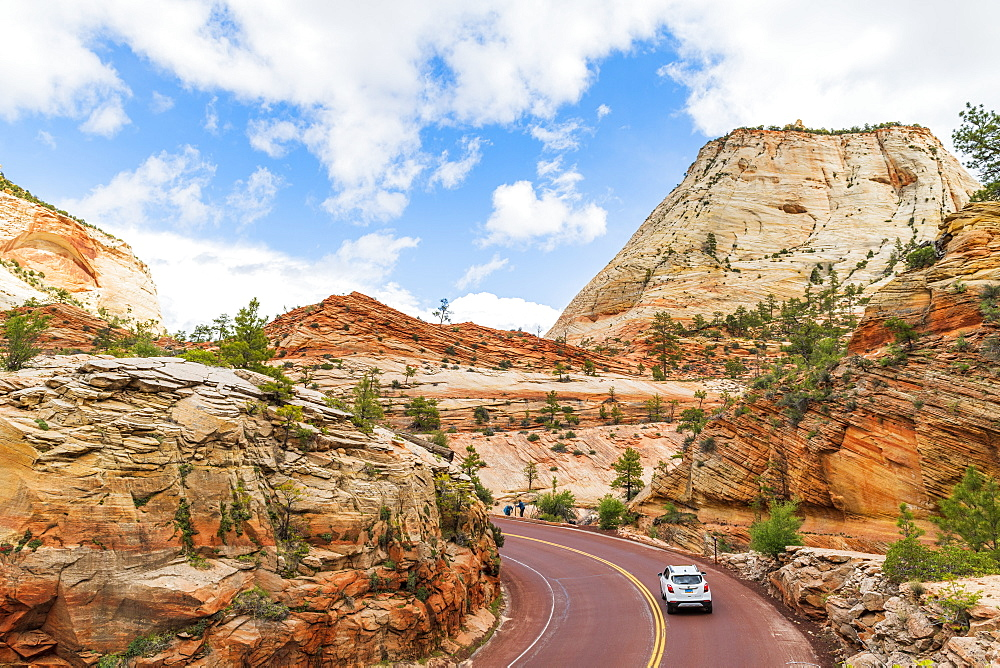 Driving through Zion National Park, Utah, United States of America, North America